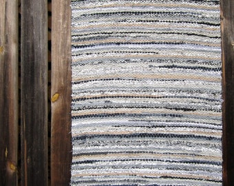 Long Handwoven rag rug - 7.98' x 2.01', pale grey, beige, black and white, ready for sale