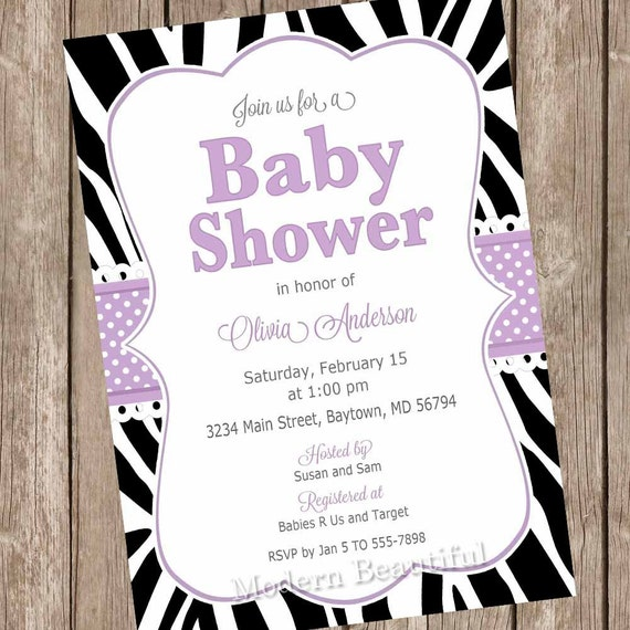 Purple zebra baby shower invitation its a girl baby shower