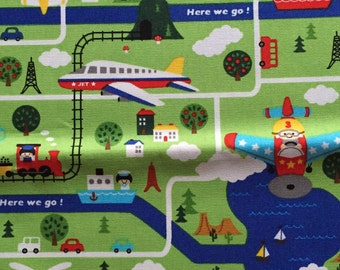 Push the pin fabric air plane Japanese cotton fabric