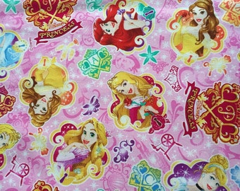 Disney princess fabric pink  color HALF yard