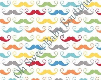 RileyBlake Geekly Chic White Mustache Fabric White Colorful