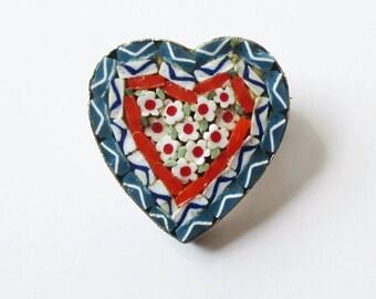 Micro Mosaic Heart Pin Italy Vintage Heart Brooch