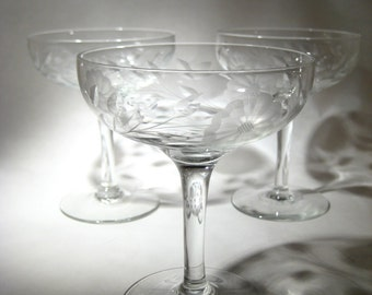 Etched Champagne Coupes - 3