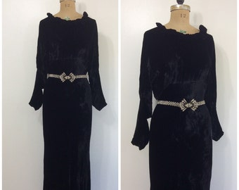 1930s Black Velvet Party Dress 30s Montgomery Ward Gown