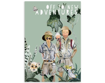 Off to new adventures Baby card with matching envelope