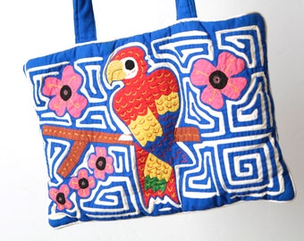 vintage embroidered BIRD SOUTHWEST ikat style bright blue handmade purse extra large TOTE bag