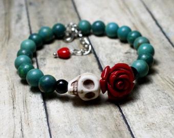 Original Day of the Dead Turquoise Red Rose Flower and Sugar Skull Bracelet