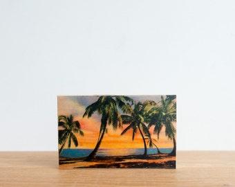 Americana Vintage Postcard Art Block 'Florida Sunrise' - palm trees, miami beach, beach sunrise, tropical beach, retro postcard, vintage