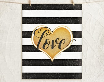 Love 11x14 Print -Inspirational, Motivational, Word Art, Home, Wall Decor -Heart, Stripes -Black, White, Gold