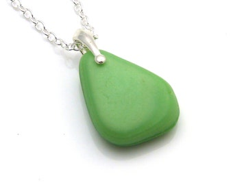 Sea Glass Necklace, Beach Glass Necklace, Seaglass Necklace, Sea Glass Pendant,  ELINA, Milk Glass Necklace