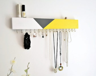 Modern Jewelry Organizer Wall - Wood Jewelry Holder - Necklace Earring Holder - Color Blocking Design