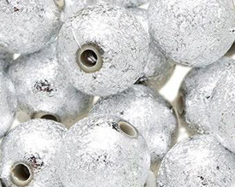 150 STARDUST Beads 8mm SILVER Metallic Acrylic Beads H181