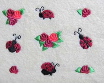 Mini designs, flowers roses, ladybugs, machine embroidery designs, Big set less than one inch size