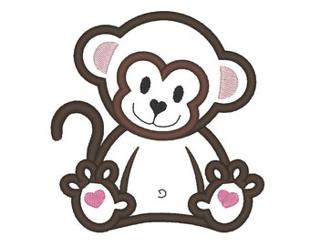 Little Monkey - machine embroidery applique designs - INSTANT DOWNLOAD for hoops 4x4, 5x7