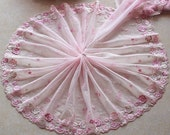2 Yards Lace Trim Flowers Embroidered Pink Tulle Lace 9 Inches Wide High Quality