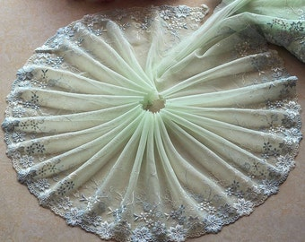 2 Yards Lace Trim Flowers Embroidered Light Green Tulle Lace 8.66 Inches Wide High Quality