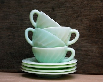 Extraordinary set: 1950's Jadeite Cups, coffee cup or tea cups and saucers, Mint green glass Milkglass, jadeite glass, jadite