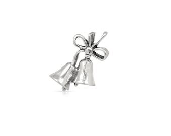 Wedding Bells Pendant Charm Sterling Silver 22.2x15.8mm - 1pc High Quality (3265)/1