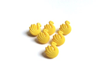 6 Swan Buttons, Vintage Yellow Swans Buttons, Kids Buttons