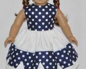 Handmade Navy Blue White Polka Dot Over White Dress Fits American Girl Doll