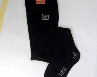 Antique Black Stockings Hose Carlisle Hosiery Shaped Ankle French Heel NOS
