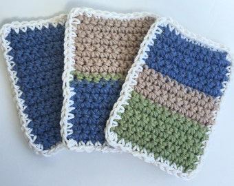 SALE - Crochet Sponge Dishcloth Washcloth - THICK - Set of 3 - Sage Green, Tan, Slate Blue - 100% Cotton