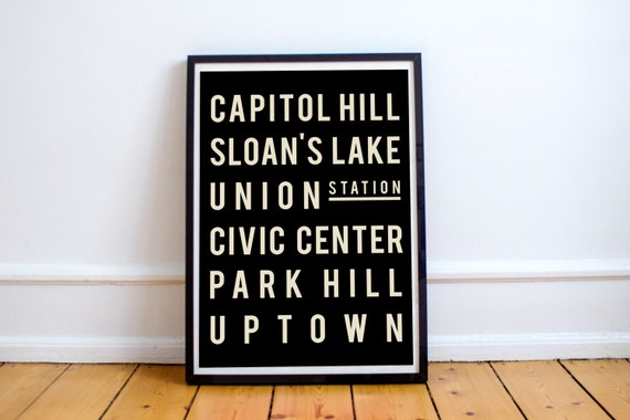 Denver Art Black And White Print Typography Poster Colorado