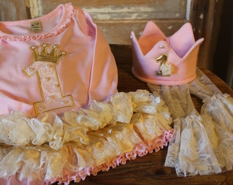 1st Birthday Girl Outfit -  Boutique Style Birthday Dress - Girls Birthday Dress and Crown - 1st Birthday Dress  - Pink and Gold