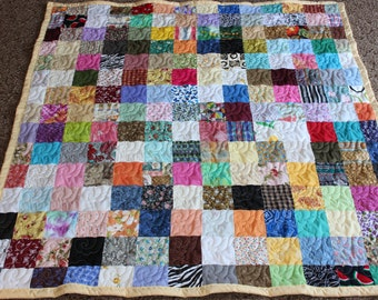 """Scrappy Quilt - Lap Quilt  - Handmade Lap Size Scrappy Patchwork Quilt - 62"""" x 66"""" READY TO SHIP!!!"""