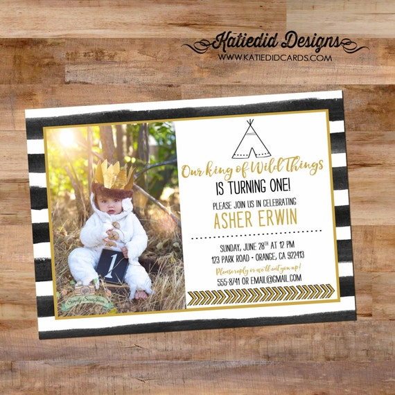 where the wild things are birthday | wild rumpus | little boy 1st birthday | teepee tribal baby shower | black white | 292 Katiedid Designs
