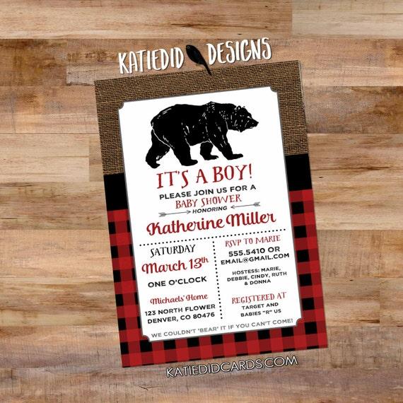 rustic baby boy shower invitation rustic chic burlap co-ed baby shower lumberjack plaid buffalo check bear birthday 1257b Katiedid Designs