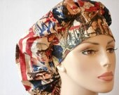 Bouffant Scrub Hat Patriotic Posters of Days Gone By with a Matching  Headband USA Patriot