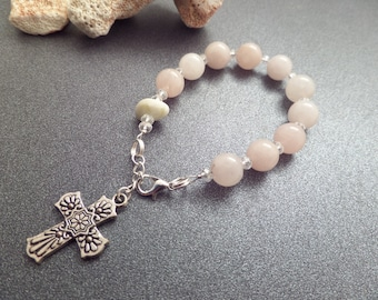 Rose Quartz Rosary Bracelet With Rare Scottish Iona Marble Pink Chaplet
