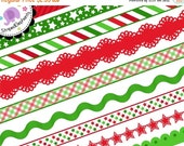 50% OFF SALE Christmas Clipart - Christmas Digital Ribbons Red and Green - Instant Download - Commercial Use