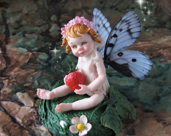 Strawberry Fairy - OOAK Art Doll Sculpted From Polymer Clay - Pure Art Sculpture
