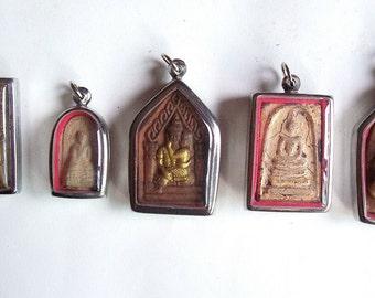 5 Thai Buddhist Buddha Clay Amulet Medallions Pendants Set Jewelry Craft Supplies