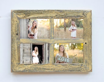 2 4 hole 8x10 barn window collage picture frame yellow gray distressed frame collage frame picture frames wedding gift reclaimed