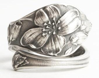 Spoon Ring, Petite Wild Rose Rose Flower Ring, Sterling Silver, Wild Rose Ring, Custom Ring Size, Antique Joseph Mayer & Bros Spoon (6245)