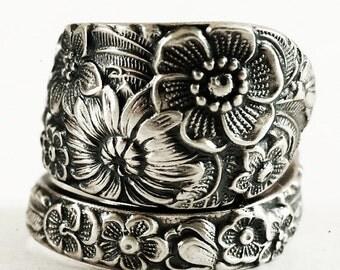 Wild Flower Ring, Sterling Silver Spoon Ring, Wedding Ring Alternative, Vintage Alvin Spoon Pattern, Handmade Gift, Custom Ring Size (5918)