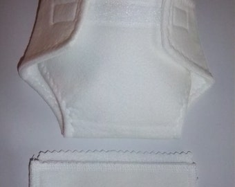 Baby Doll Diaper/wipes - basic white flannel with white fleece lining - adjustable for many dolls such as bitty baby