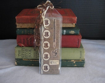 "Hand made ""Write Your Own Story"" Book Mark, Top hats"