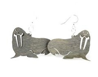 Walrus Wood Earrings - Eco Friendly Sustainable Product