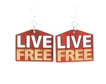 Live Free Laser cut wood earrings - Support Freedom
