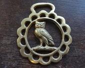 Vintage English Owl Horse Brass tack decor lucky charm good luck gift souvenir medallion circa 1950's / English Shop