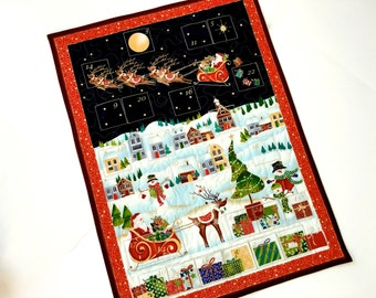 Advent Calendar Quilted Whimsical Christmas Village Santas Sleigh