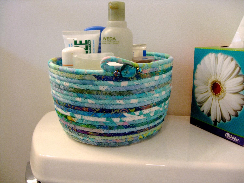 Handmade Rope Basket : Aqua basket coiled rope clothesline bowl ooak handmade