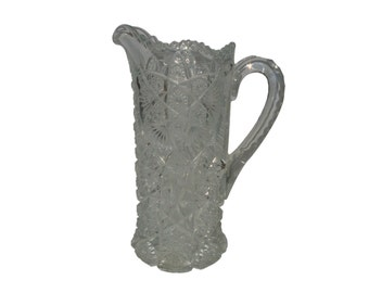 Imperial Nucut Pressed Glass Water Pitcher