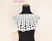Child size White Poncho, Crochet Cotton Cape, Hand Made in the U S A