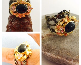 Princess Ring, Made with a Vintage Bead, Adjustable Filigree Copper/Brass Ring, Made IN the USA, Item No. De042