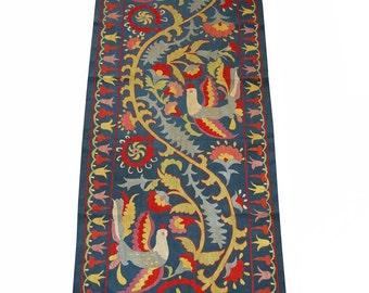 Bukhara Uzbek silk handmade embroidery   stylized birds  suzani Wall Hanging   Table Cover Ethnic Suzani